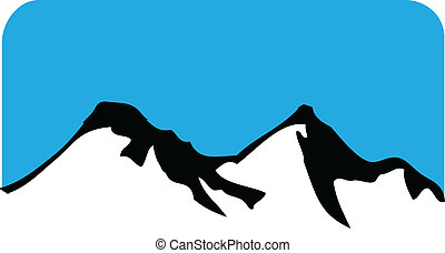 Mountains with hills logo image