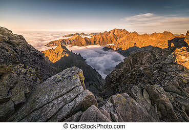 Mountains with Inversion at Sunset