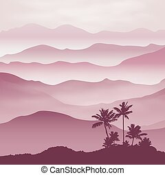Mountains with palm tree in the fog. Background.