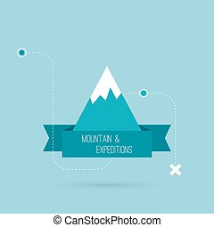 Mountains with ribbon for text and traffic schemes. Vector...