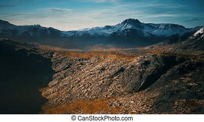mountains with snow and dry hills in Chile