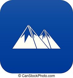 Mountains with snow icon digital blue