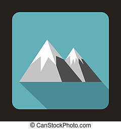 Mountains with snow icon, flat style
