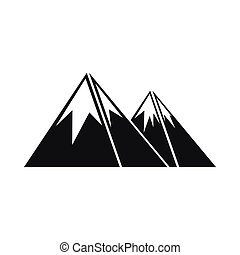 Mountains with snow icon, simple style
