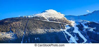 Mountains with snow in winter. Ski resort Bad Gasteinl, Austria