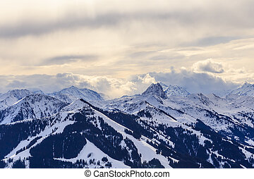 Mountains with snow in winter. Ski resort Hopfgarten, Tyrol, Austria