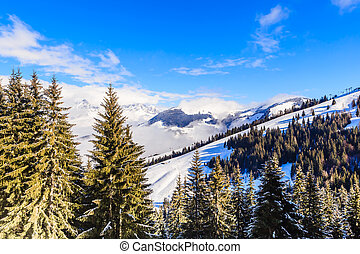 Mountains with snow in winter. Ski resort Soll, Tyrol, Austria
