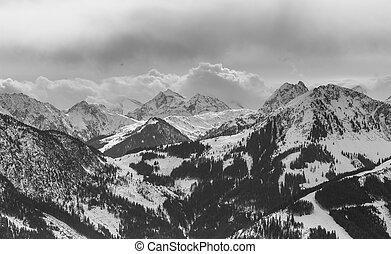 Mountains with snow in winter. Ski resort Westendorf. Tyrol, Austria