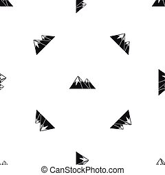 Mountains with snow pattern seamless black