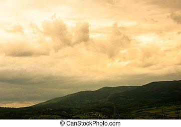 Mountains with strange sky