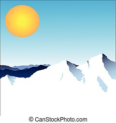 Mountains with the sun on a blue background