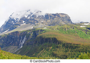 mountains, with, waterfalls