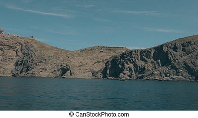 Mountainside near Balaklava with yachts, Cape Aya Russia...