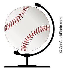 Mounted Baseball On Rotating Swivel - A baseball globeon a...