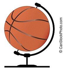 Mounted Basketball On Rotating Swivel - A basketball globe...