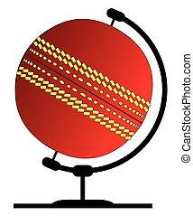 Mounted Cricket Ball On Rotating Swivel - A cricket ball...