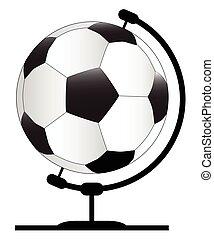 Mounted Football On Rotating Swivel - A soccer ball globe on...