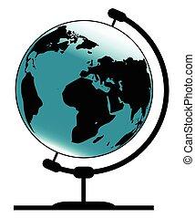 Mounted Globe On Rotating Swivel - A globe of the earth on a...