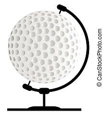 Mounted Golfball On Rotating Swivel - A golfball globe on a...