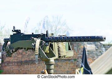 Mounted machine gun on vehicle