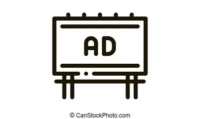mounted overhead billboard Icon Animation. black mounted overhead billboard animated icon on white background