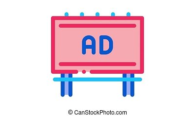 mounted overhead billboard Icon Animation. color mounted overhead billboard animated icon on white background