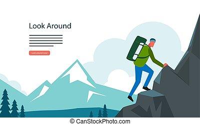 mountian, ハイキング, 観光客, 風景, 冒険