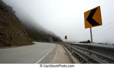 Mountian Road Misty Fog Dangers - Fog rolls in on a high...
