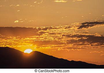 mountian, vegas, valle, frenchman, salida del sol, las