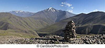 mountines, gamme, azerbijan, caucas, russie