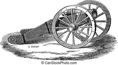 Old engraved illustration of Mounting of howitzer (Valliere system). Industrial encyclopedia E.-O. Lami ? 1875.