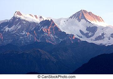 Mounts Annapurna II and IV at Dawn, Nepal