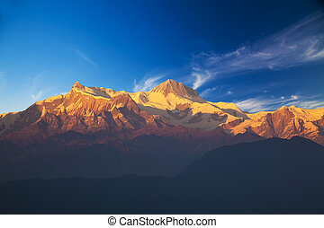 Mounts Annapurna II and IV at Dusk, Nepal