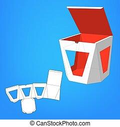 mourir, coupure, emballage, products., blanc, eps10, vecteur, prêt, isolated., design., fond, fenetres, cadeau, autre, nourriture, produit, boîte, template., ou, ton