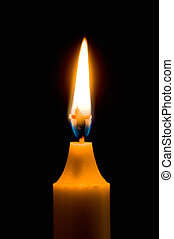 Flaming candle with dark background and cross wick