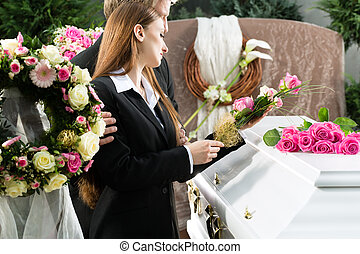 Mourning People at Funeral with coffin - Mourning man and ...
