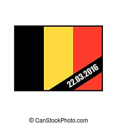 Mourning Ribbon on flag of Belgium. Attack in Brussels on March 22, in the year 2016. Grief for dead, in Brussels. explosion in Belgium. terrorist attack in Brussels