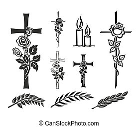 set with decoration for tombstones or funerals