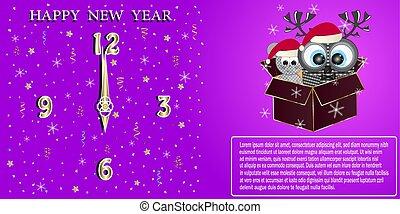 mouse., év, köszönés, bagoly, kártya, új, boldog