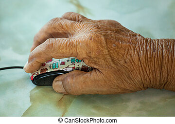 mouse., öreg, kéz, woman hatalom, számítógép