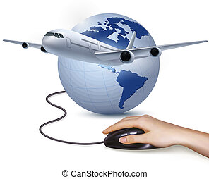 mouse., 旅行, 手, ベクトル, 背景, 飛行機, concept.