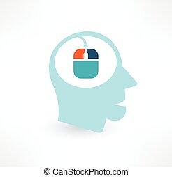 Mouse and head icon. Computer addiction concept. Logo design.