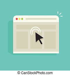 Mouse arrow click on browser web site window vector icon, black cursor clicking