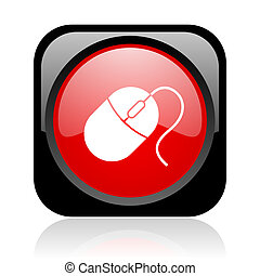 mouse black and red square web glossy icon