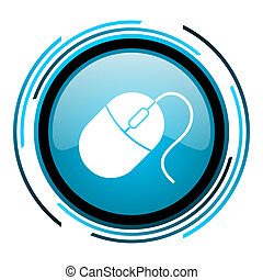 mouse blue circle glossy icon