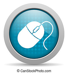 mouse blue glossy icon on white background