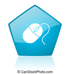 mouse blue pentagon web glossy icon
