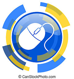 mouse blue yellow glossy web icon