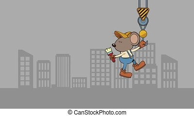 mouse builder with brush character animation illustration...