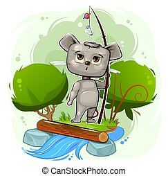 Mouse. Cartoon style. Young cub. Vector. Cute baby. ????????.